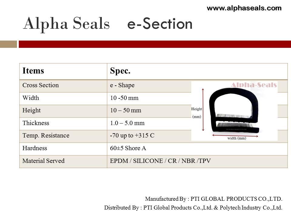 ซีลตู้อบ e-profiles  Alpha Seals