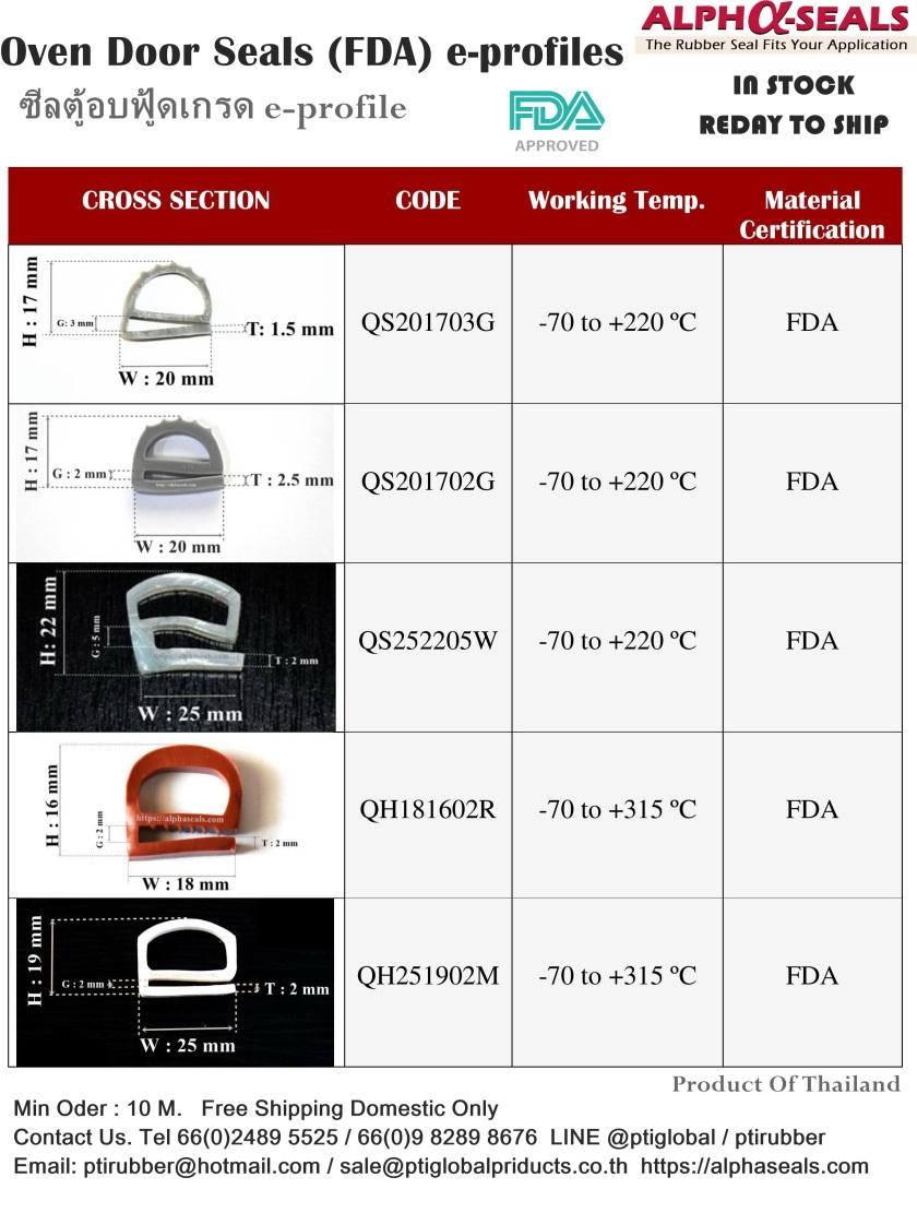 ซีลตู้อบฟู้ดเกรด e-profile Oven door Seals