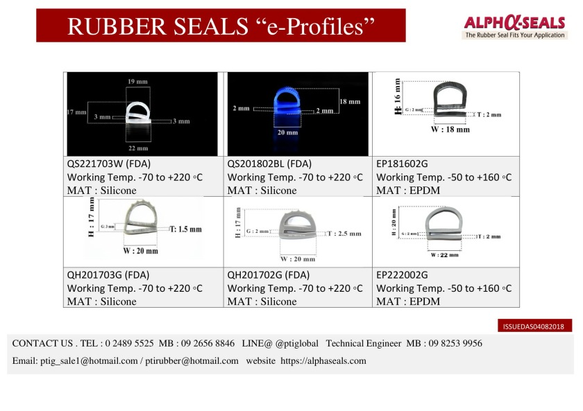 RUBBER SEALS e-profiles Manufacturer 2019-2
